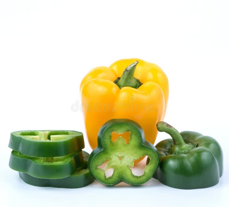 Verse Groene en gele peper royalty-vrije stock foto's