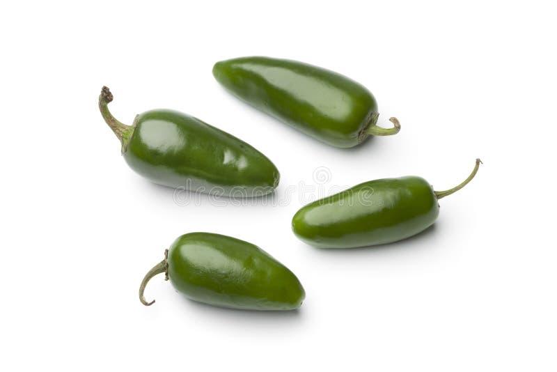Verse groene Jalapeno Spaanse peperpeper stock afbeeldingen