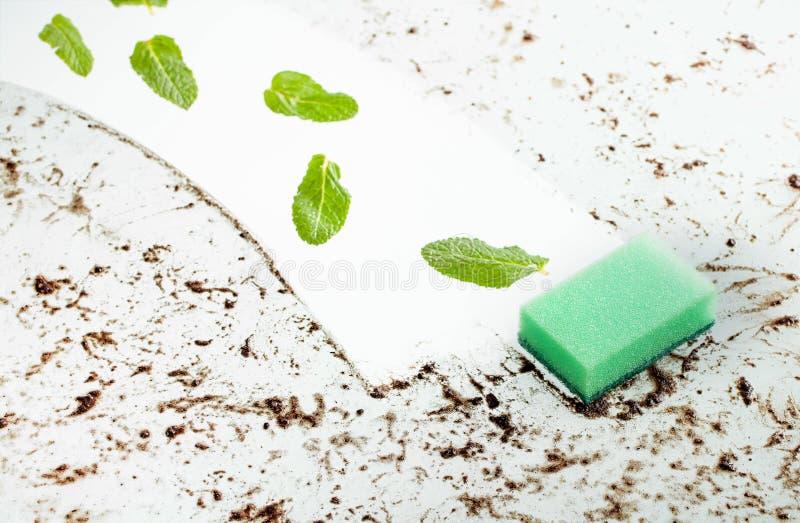 Verse groene muntbladeren op schone glasoppervlakte royalty-vrije stock fotografie