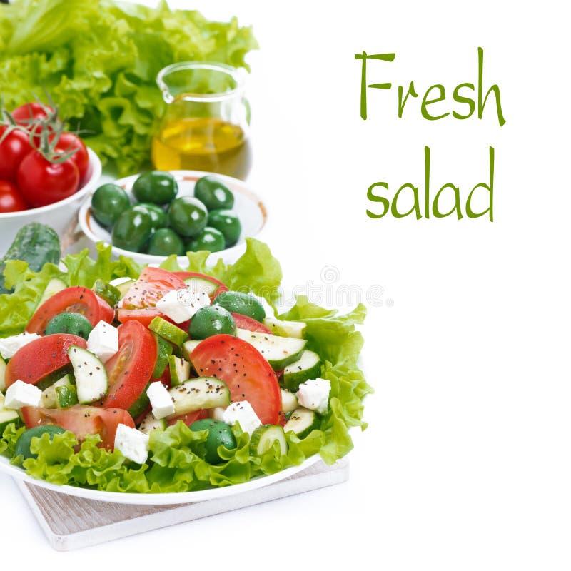 Verse groene salade met groenten en de kaas en het ingrediënt van feta stock foto