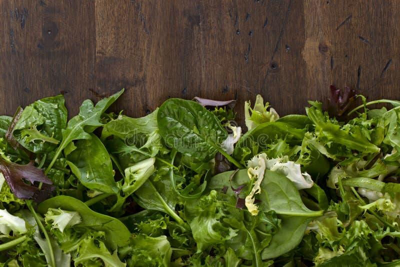 Verse groene salade met spinazie, arugula en sla stock foto's