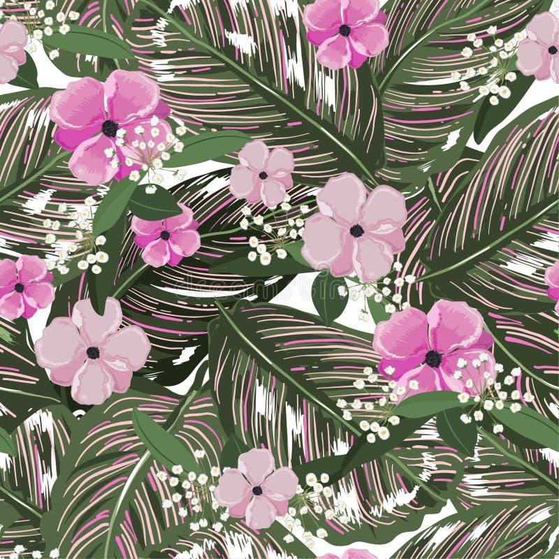 Verse groene tropische bladeren, met bloemachtergrond Bloemen naadloos patroon Greenary Tropische illustratie Paradijs stock illustratie