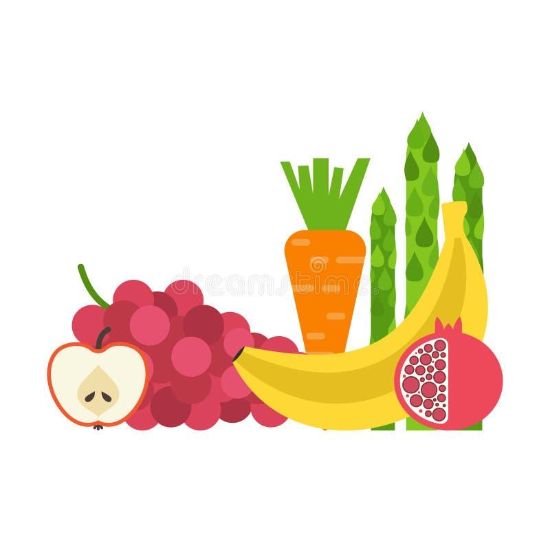 Verse Groenten en Vruchten royalty-vrije illustratie