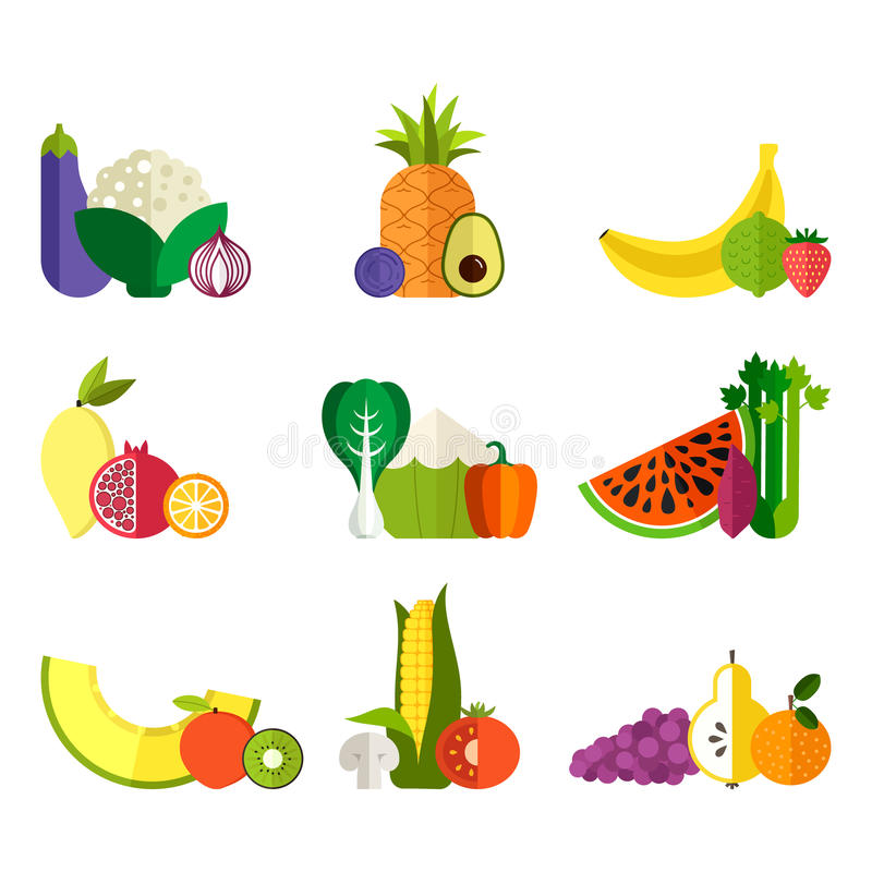 Verse Groenten en Vruchten vector illustratie