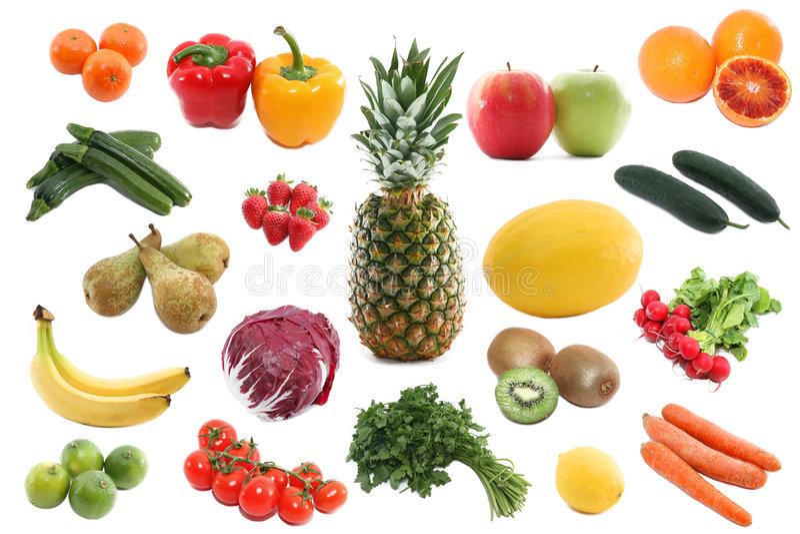 Verse groenten en vruchten royalty-vrije stock foto's