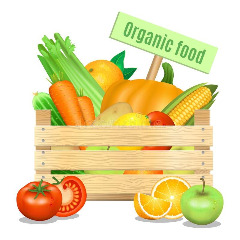 Verse groenten en vruchten in een houten doos vector illustratie