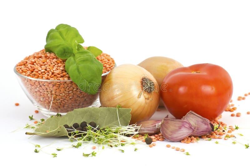 Verse groenten, linzen en kruiden royalty-vrije stock foto's