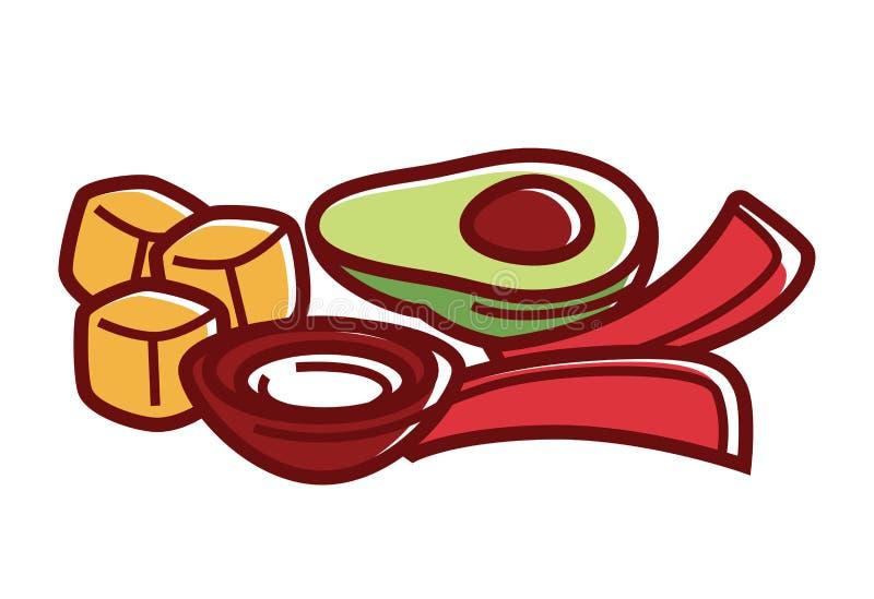 Verse groenten met onderdompeling in kom geïsoleerde illustratie royalty-vrije illustratie