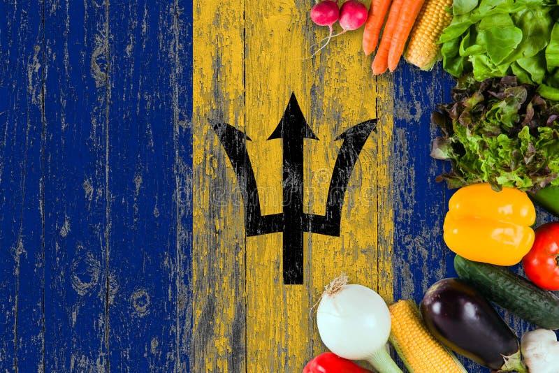 Verse groenten van Barbados op lijst Het koken concept op houten vlagachtergrond stock foto