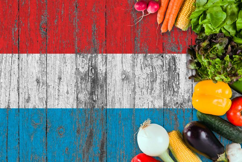 Verse groenten van Luxemburg op lijst Het koken concept op houten vlagachtergrond stock afbeelding