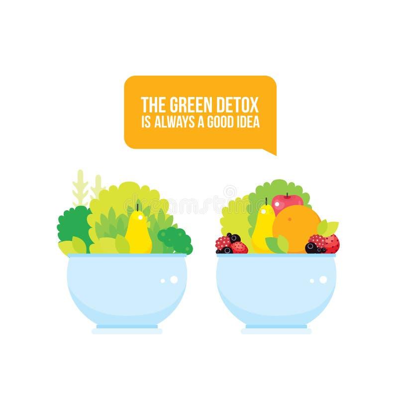Verse groentengreens vruchten de bessen werpen kleurrijke achtergrond stock illustratie