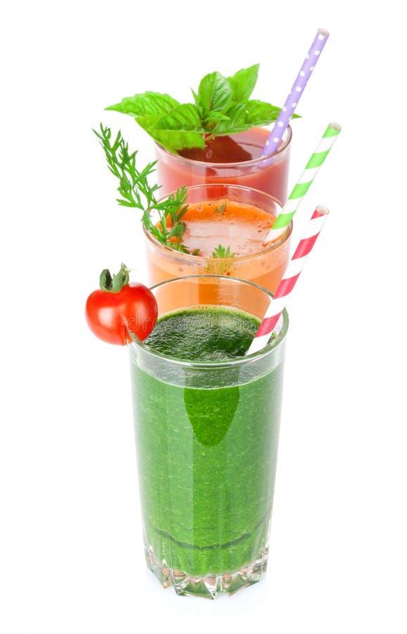 Verse groentesmoothie Tomaat, komkommer, wortel stock afbeelding