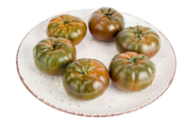 Verse heerlijke lycopersicum 'R.A.F. 'van de tomatennachtschade royalty-vrije stock foto's