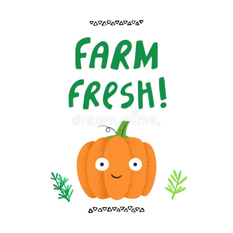 Verse het landbouwbedrijf had vectorillustratie getrokken vector illustratie