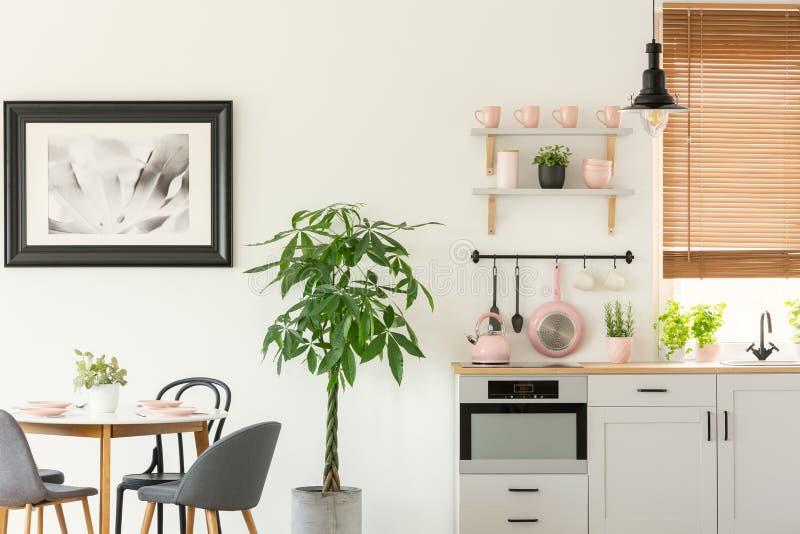 Verse installatie die zich naast houten eettafel met stoelen in echte foto van helder keukenbinnenland bevinden met pastelkleur r royalty-vrije stock afbeeldingen