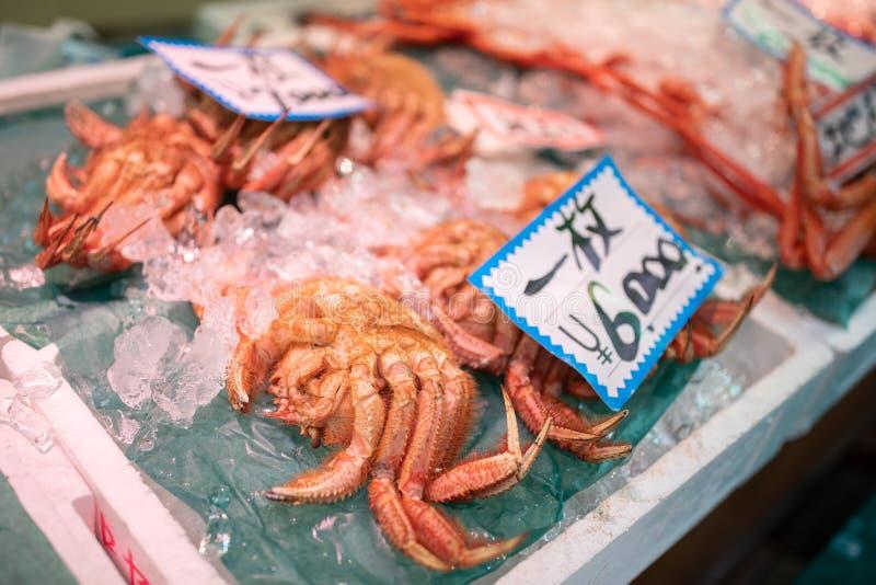 Verse Japanse haarkrab, Koning Crab van Omicho-Markt in Kanazawa stock afbeelding