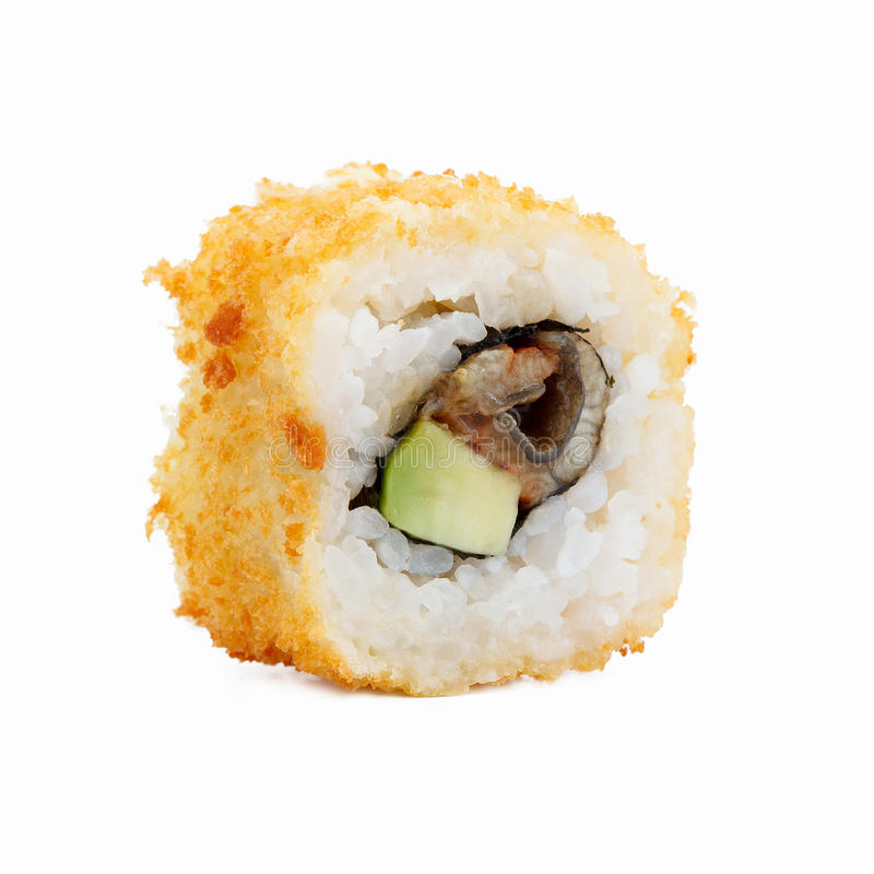 Verse Japanse sushibroodjes op een witte achtergrond stock foto's