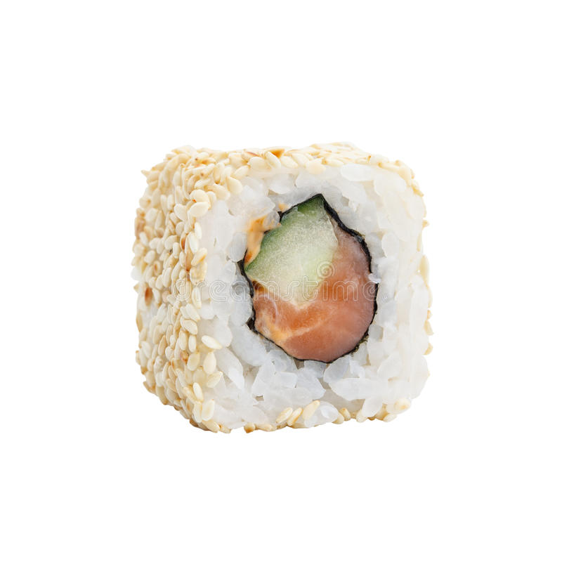Verse Japanse sushibroodjes op een witte achtergrond stock afbeelding