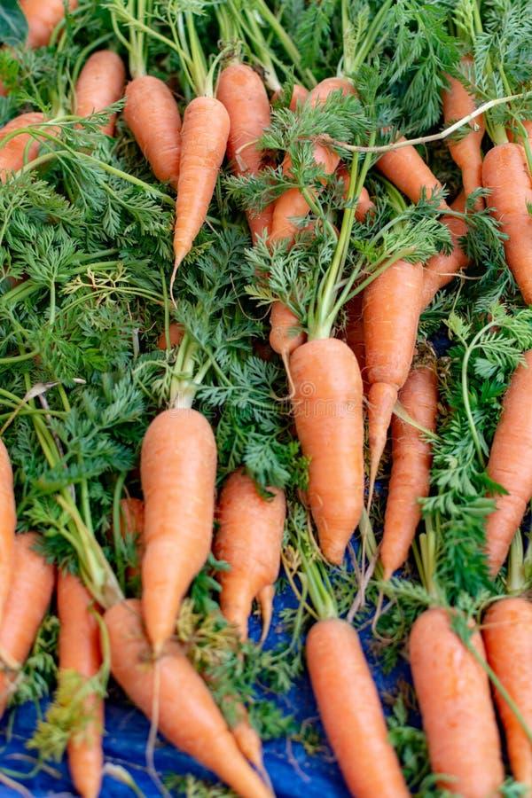 Verse jonge wortelen met bladeren op landbouwersmarkt stock afbeeldingen