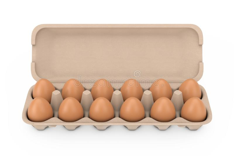 Verse Kippen Beige Eieren in de Dooscontainer van het Kartonpakket het 3d teruggeven vector illustratie