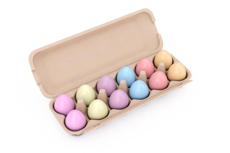 Verse Kippen Multicoloured Eieren in de Dooscontainer van het Kartonpakket het 3d teruggeven vector illustratie