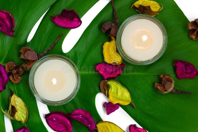Verse kleurrijke samenstelling van twee brandende kaarsen, geurige potp royalty-vrije stock foto