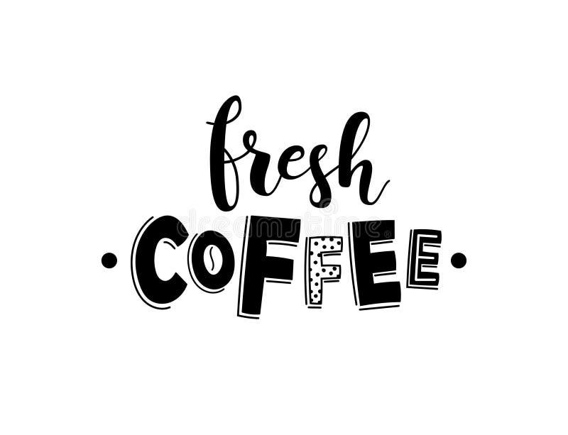 Verse koffie Het vector van letters voorzien voor koffiewinkel stock illustratie