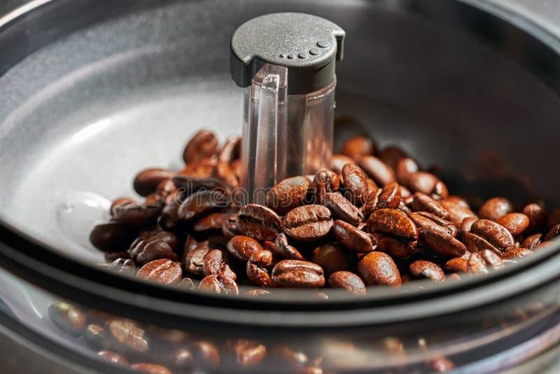 Verse koffiebonen in de molens van de koffiemachine stock foto's