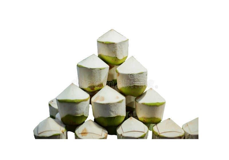 Verse kokosnoot in Thailand op witte geïsoleerde achtergrond royalty-vrije stock foto