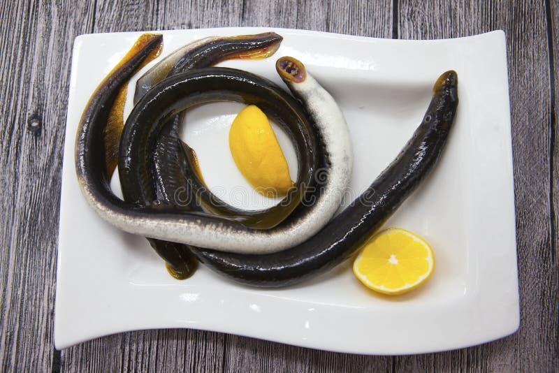 Verse levende vissenlamprei op porseleinplaat met citroen stock afbeeldingen