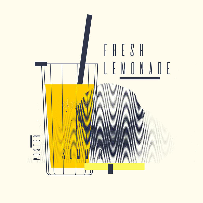 Verse limonade modieuze affiche, in grafiek vector illustratie