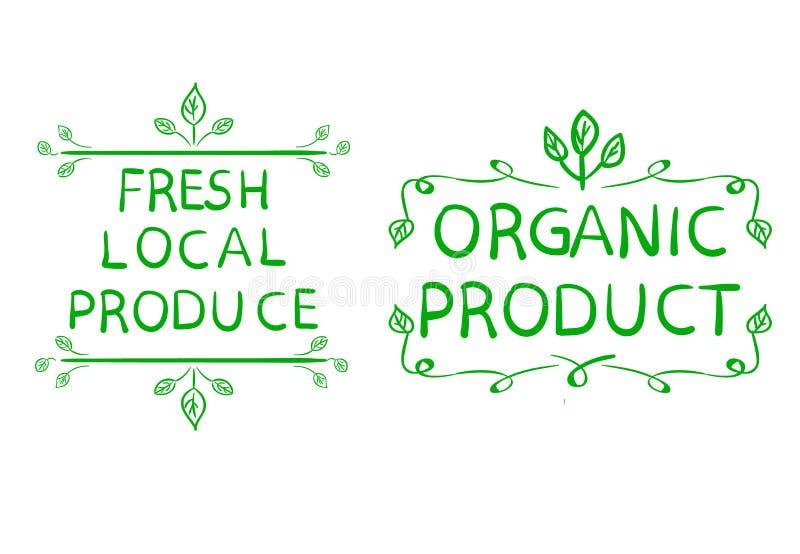Verse lokale opbrengst en biologisch productemblemen Getrokken hand vector illustratie