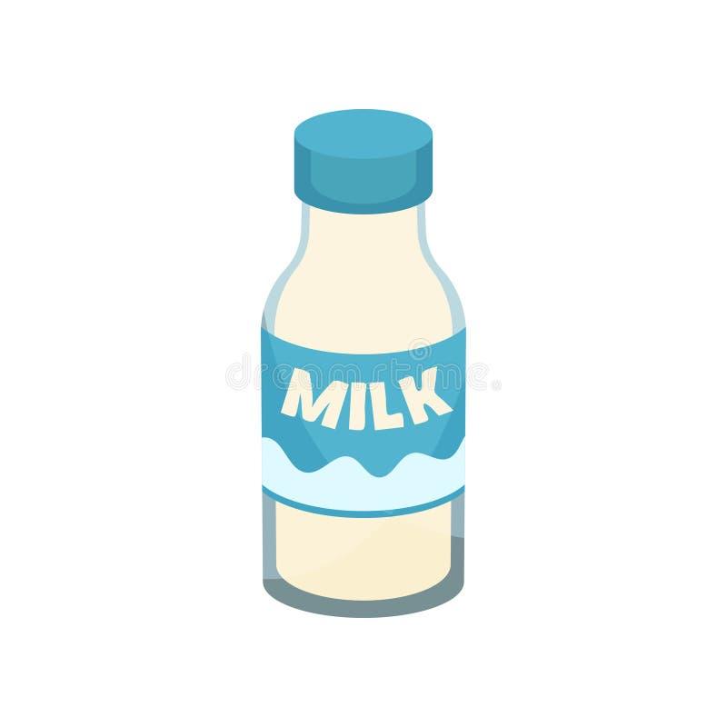 Verse melk in glasfles Gezonde drank Geïsoleerde voorwerpen Smakelijke Drank Vlak vectorelement voor affiche van kruidenierswinke royalty-vrije illustratie