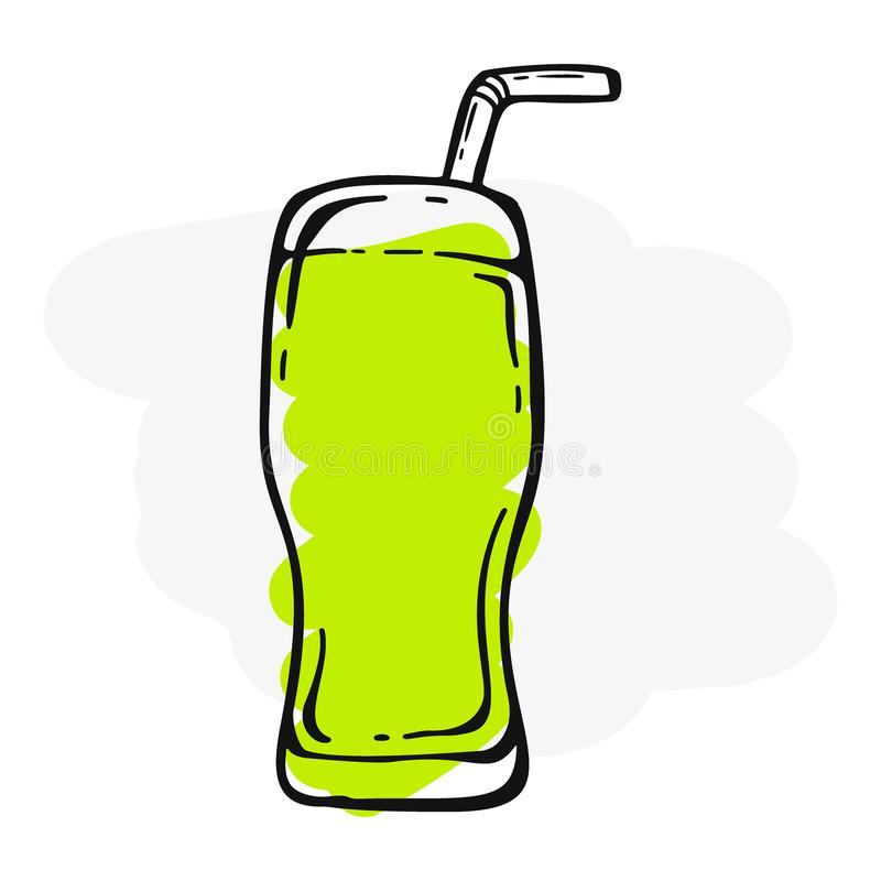 Verse mojito in een glas Banner smoothies, limonade, vers, sap, detox in schetsstijl stock illustratie