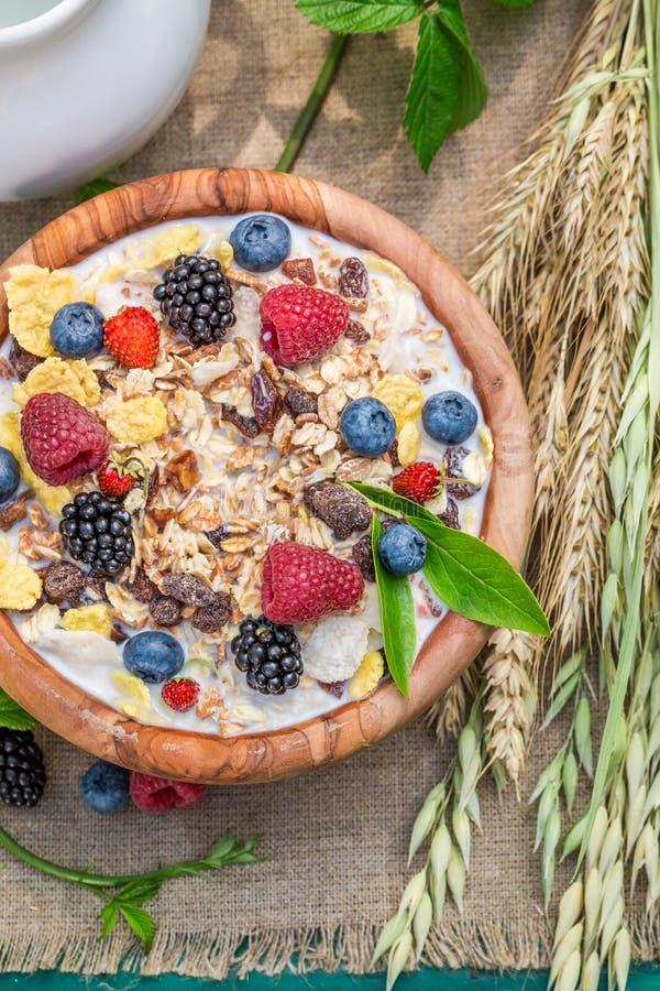 Verse muesli met bessen en melk in tuin stock foto