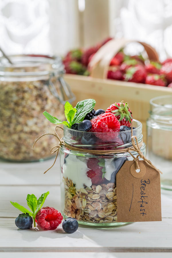 Verse muesli met vruchten en yoghurt royalty-vrije stock fotografie
