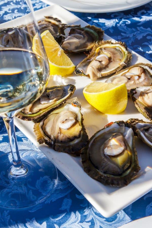 Verse oestersschotel met saus en citroen royalty-vrije stock foto