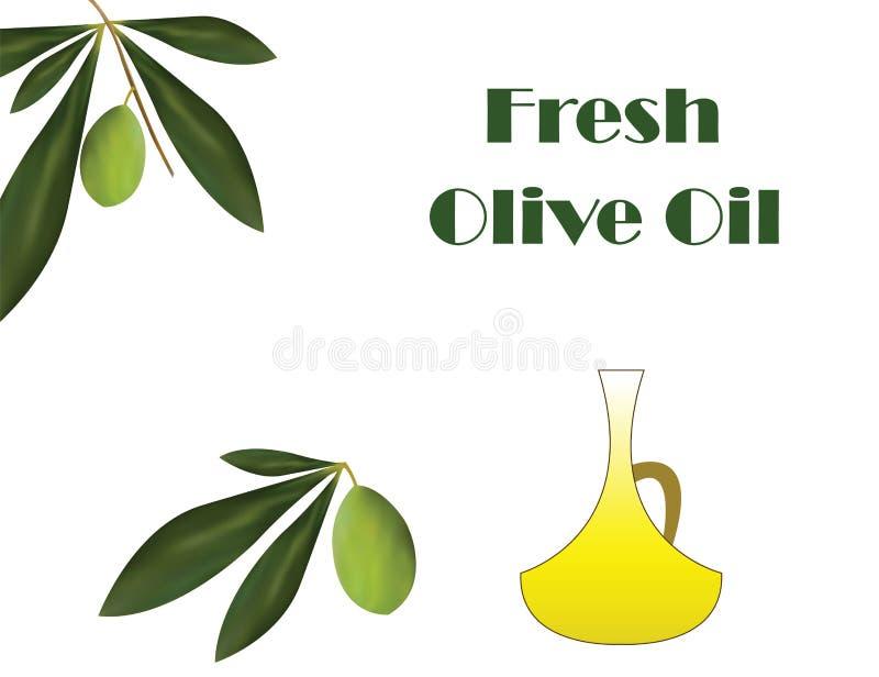 Verse olijfolievector - traditionele Griekse olijfoliereclame vector illustratie