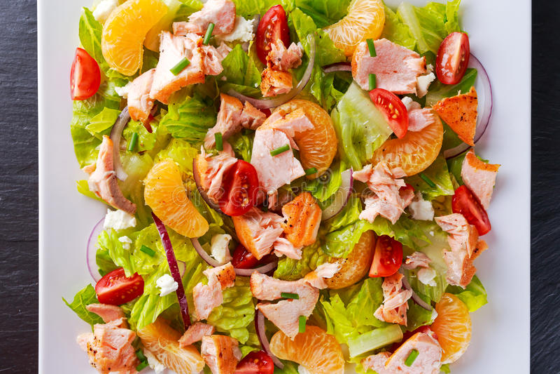 Verse Oranje Zalmsalade met honing, tomaten, ui, mandarin Gezond stock afbeelding