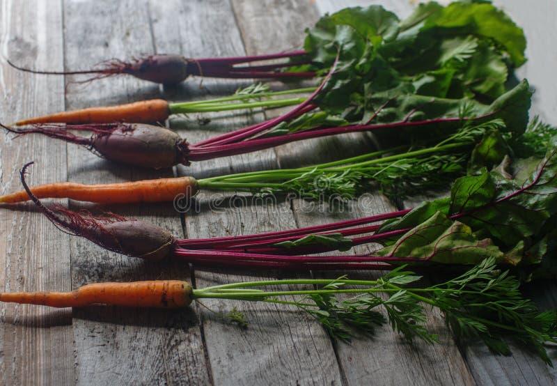 Verse organische biet en wortel op rustieke houten achtergrond, gezonde levensstijl, de herfstoogst, rauwe groenten, hoogste meni stock afbeeldingen