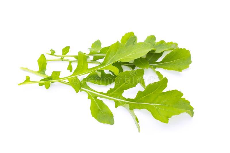 Verse organische groene die rukkola, rucola of arugula, hoop, saladebladeren, op witte achtergrond worden geïsoleerd royalty-vrije stock foto