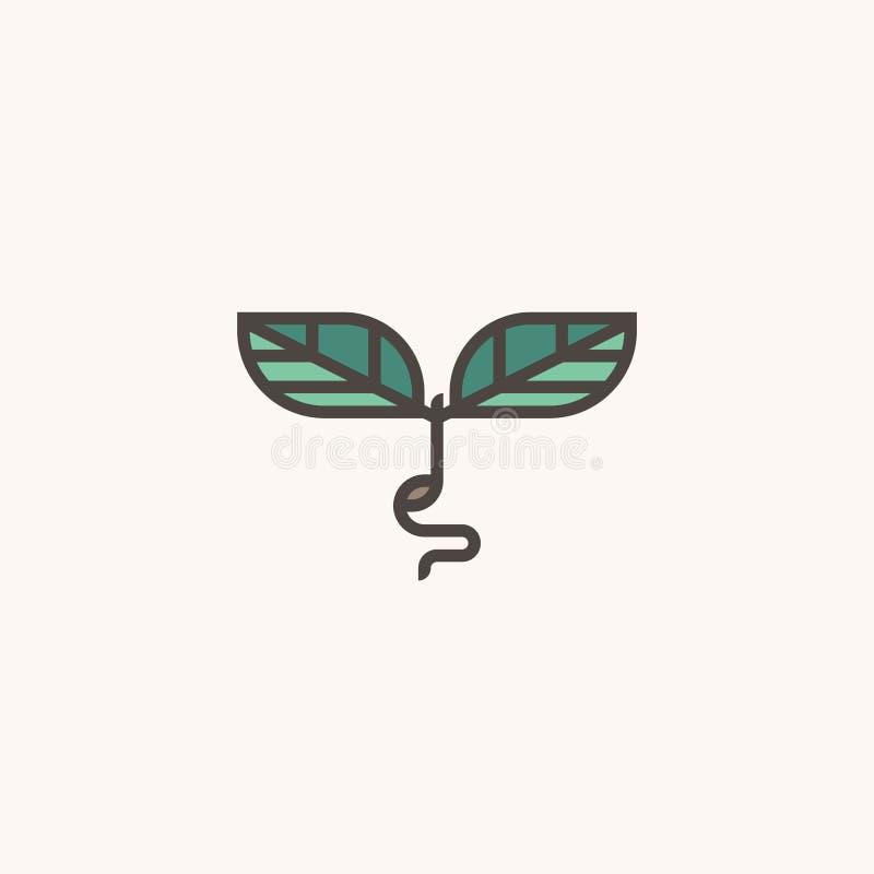Verse organische spruit Modern het tekenmalplaatje van het lijnembleem met spruit vector illustratie