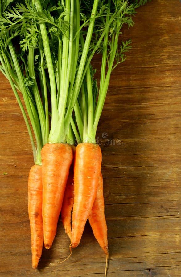 Verse organische wortel met groene bladeren stock afbeeldingen
