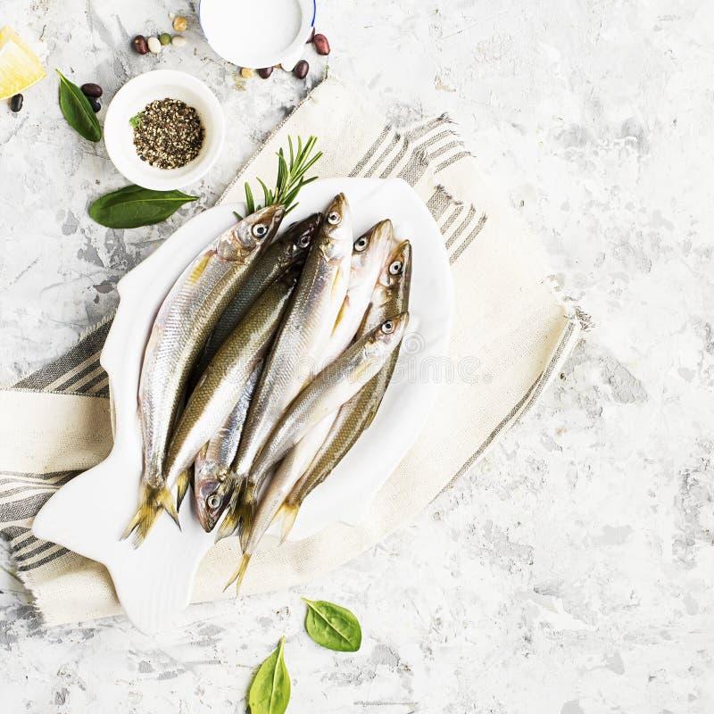 Verse overzeese koud-water kleine vissen zoals spiering, sardine, ansjovissen op een eenvoudige achtergrond met verse spinazie, c stock fotografie