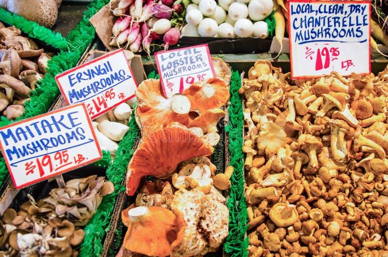 Verse paddestoelen voor verkoop bij de markt van een landbouwer stock afbeelding