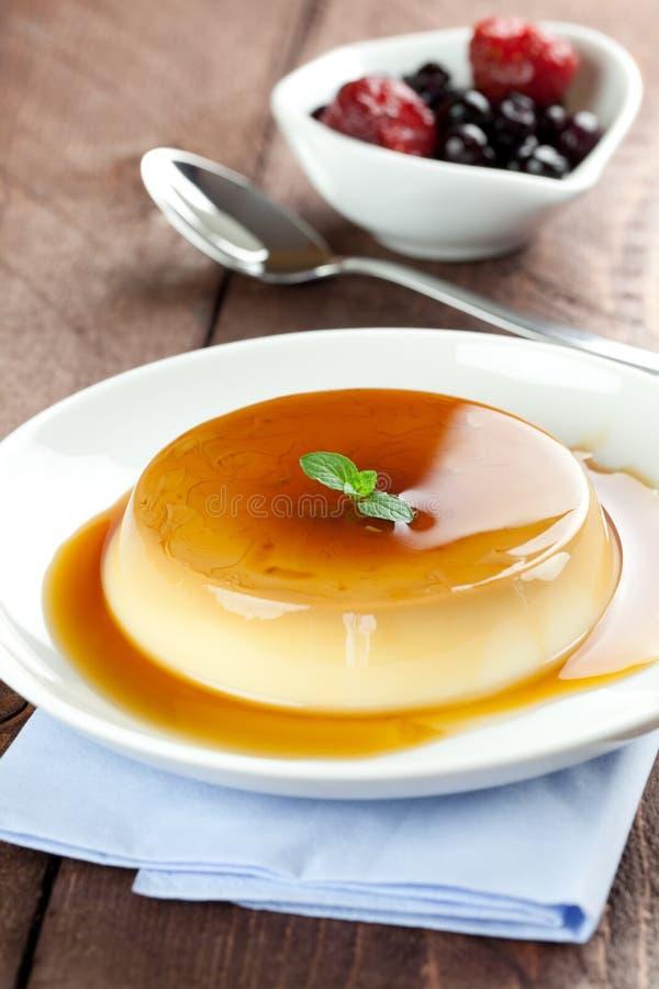 Verse pannacotta met karamel royalty-vrije stock foto's