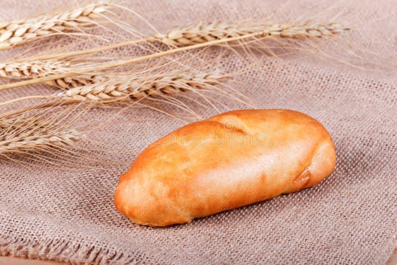 Verse pastei, broodje met vlees en groenten op rustieke achtergrond stock fotografie