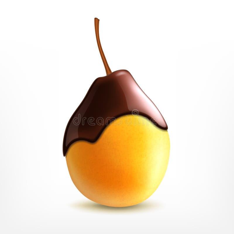 Verse peer met chocolade stock illustratie