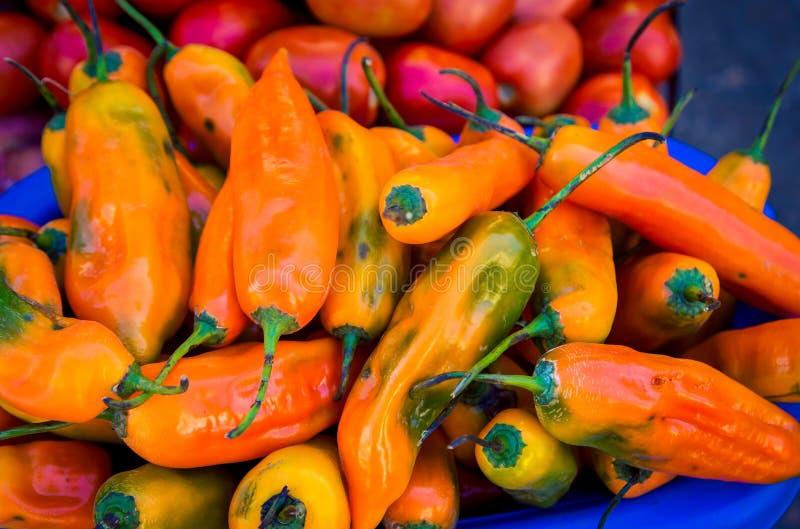 Verse peper bij een straatmarkt royalty-vrije stock foto