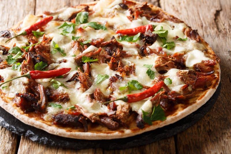 Verse pizza met getrokken varkensvlees, mozarellakaas, Spaanse pepers en het close-up van de barbecuesaus horizontaal stock fotografie